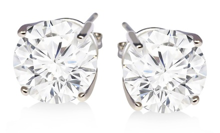 2CTTW White-Topaz Stud Earrings in Sterling Silver