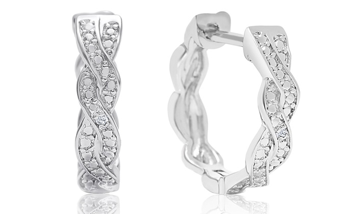 Diamond Swirl Hoop Earrings In Platinum Plated Br