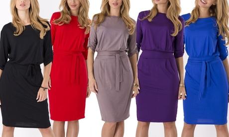 Vestito Lia con fascia in vita disponibile in vari colori e taglie