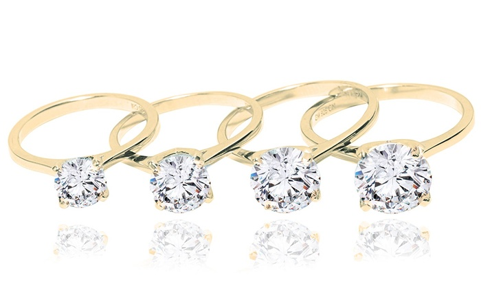 5e8fe08267b Classic Solitaire Sterling Silver Engagement Ring in 14K Gold Plating ...