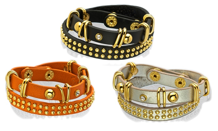 Genuine Leather Studded Wrap Bracelets: Genuine Leather Studded Wrap Bracelets. Multiple Styles Available. Free Shipping and Returns.