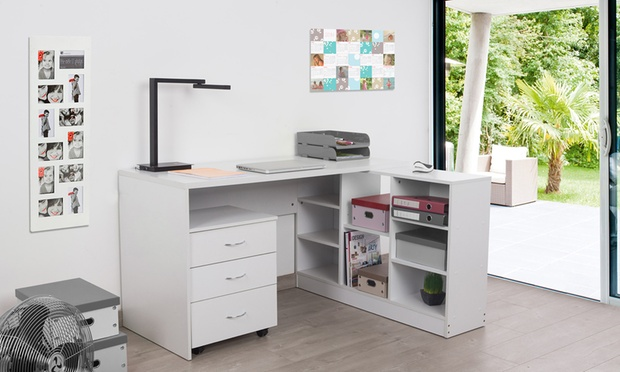 bureau avec caisson ou tag re groupon shopping. Black Bedroom Furniture Sets. Home Design Ideas