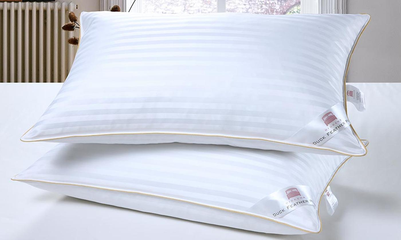 Two or Four Duck Feather Satin Stripe Pillows for £12