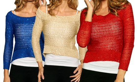 Women's Cropped Sparkle Sweaters