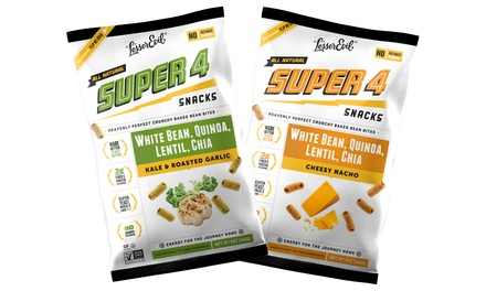 LesserEvil Super 4 Baked Snacks in Cheesy Nacho and Kale & Roasted Garlic; 12-Pack of 5oz. Bags