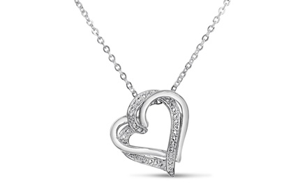 Double Floating Heart Diamond Pendant Necklace