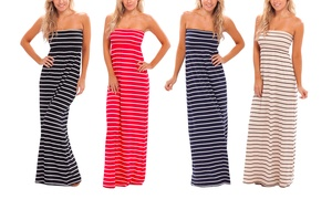 Strapless Nautical Maxi Dress