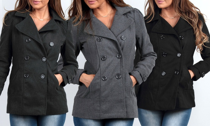 Women's Hooded Pea Coat | Groupon Goods