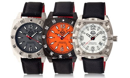 Shield Pilecki and Vujnovich Men's Swiss Diving Watches with 500m Water Resistance