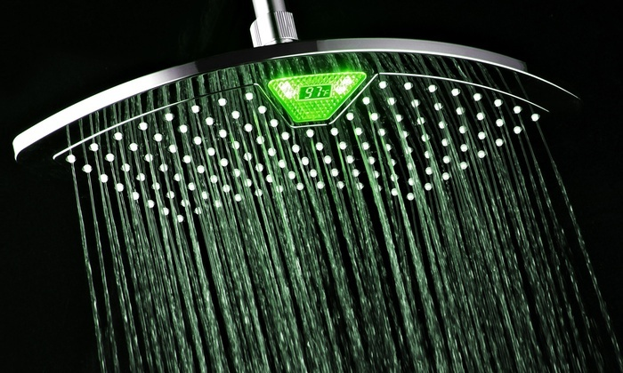 "12"" Fan Rainfall Showerhead with Color-Changing LED/LCD Temperature Display"