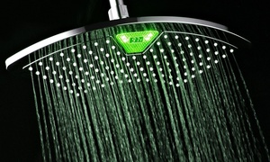 "12"" Fan Rainfall Showerhead with Color-Changing LED/LCD Display"
