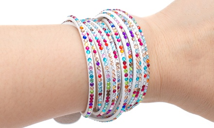 Vegan Leather Wrap Bracelets with Swarovski Elements