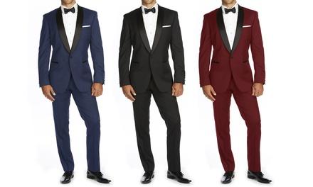 Braveman Men's Shawl-Lapel Tuxedo with Bow Tie Set (3-Piece)(34-50)