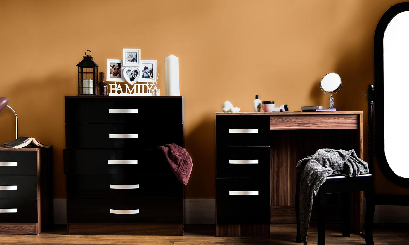 Vida Designs Hulio High Gloss Bedroom Furniture Range