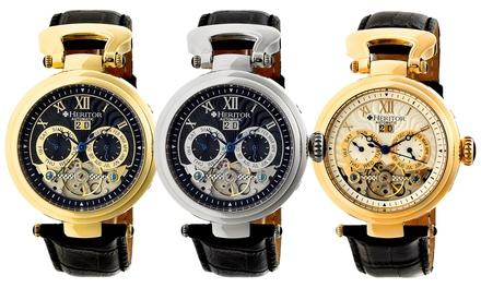 Heritor Ganzi Men's Automatic Semi-Skeleton Crocodile-Embossed Leather Strap Watch