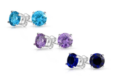 3-Pair Genuine Gemstone Stud Earring Set