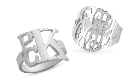 ShopOnlineDeals Monogrammed Ring in Silver or Gold Over Silver from $34.99-39.99