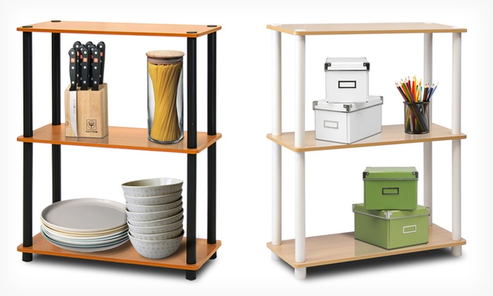 Furinno Turn 'n' Tube Shelves: 3- or 4-Tier Furinno Turn 'n' Tube Shelves (Up to 65% Off). Multiple Colors Available. Free Shipping and Returns.