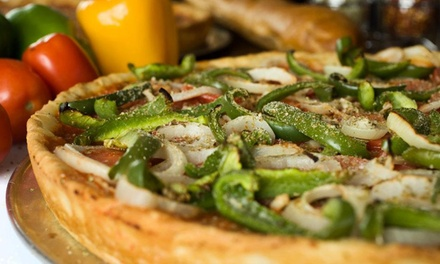 $17 for a Large Pizza with a Choice of Beer, Soda, or Salad at Gulliver's Pizza (Up to $31.45 Value)