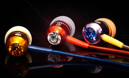 BassBuds Crystaltronics Headphones with Mic and Swarovski Elements. 11 Colours Available.