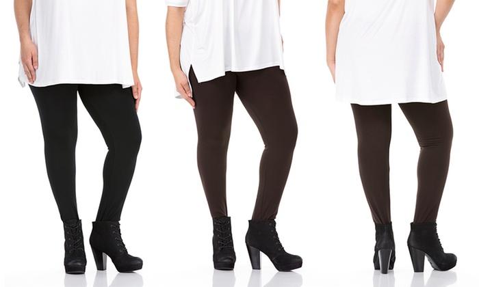 Sociology Women's Plus-Size Fleece-Lined Leggings (One Size, 2 ...