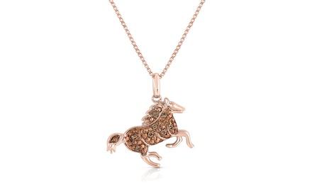 Genuine Champagne-Diamond Horse Pendant in Sterling Silver