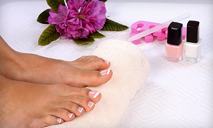 Young's Nail - Fort Lee: Green-Tea Spa Pedicure and French Color-Gel Manicure for One or Two at Young's Nail (Up to 58% Off)
