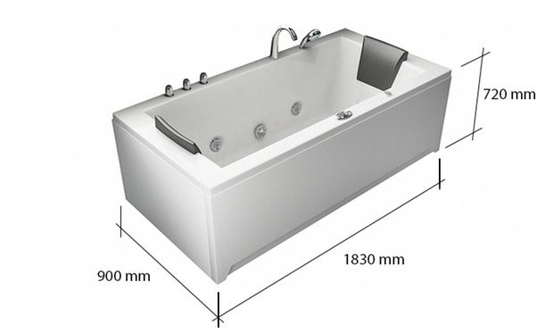 Whirlpool mit massaged sen groupon goods for Dimensiones jacuzzi 2 personas