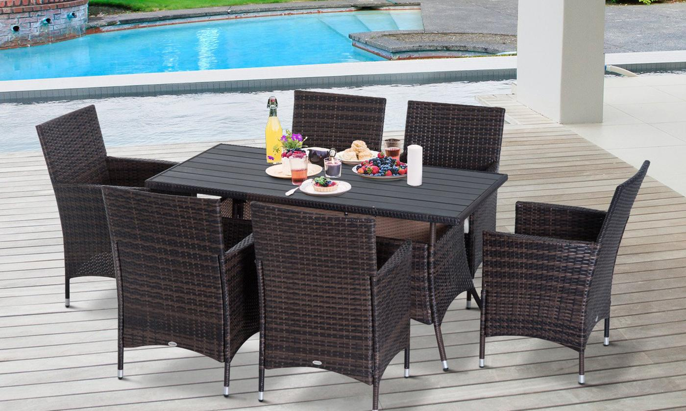 Outsunny PE-Rattan Dining Set (£319)