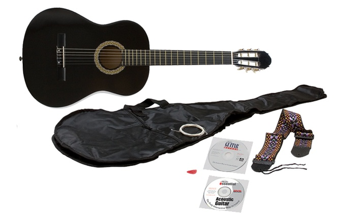 eMedia Essential Acoustic Guitar Bundle with Acoustic Guitar, eMedia Guitar Method Software, and Guitar Accessories