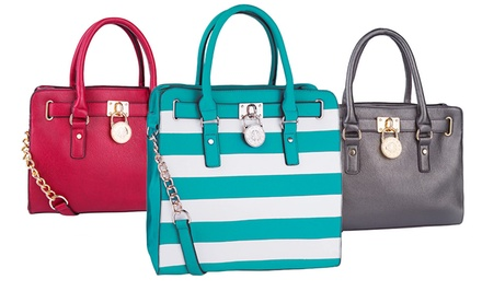 Striped and Solid Padlock Totes