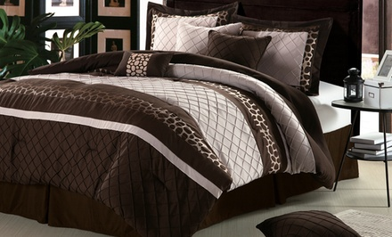 groupon daily deal - 11-Piece Embroidered Comforter Set with Sheet Set in Cheetah Brown. Free Returns.