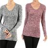 Women's Long Sleeve V-neck Ribbed Top