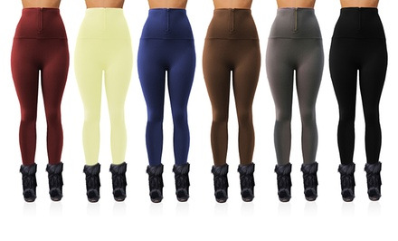 6-Pack of Ladies' High-Waist Zipper Fleece Leggings