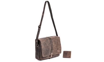 Packenger Umhängetasche Haroi und Geldbörse aus Büffelleder mit Namensgravur inkl. Versand (50% sparen*)