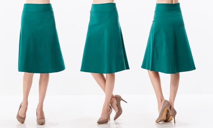de0f30eaa8 Women s High-Waist A-Line Below-the-Knee Flared Stretch Midi Skirt ...