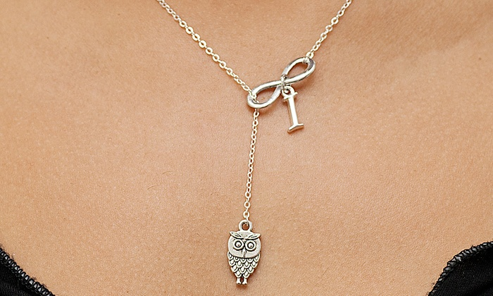 Monogram Hub: Owl Infinity Necklaces in Sterling Silver Plated Bronze from Monogram Hub (Up to 87% Off)