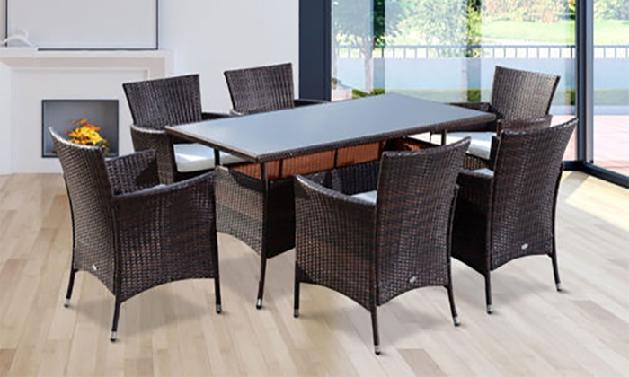 six seat rattan effect dining set groupon goods. Black Bedroom Furniture Sets. Home Design Ideas