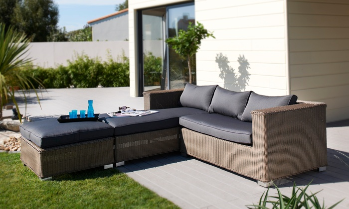 salon de jardin luxe d 39 angle groupon shopping. Black Bedroom Furniture Sets. Home Design Ideas