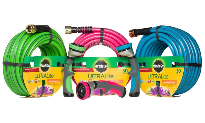MiracleGro Ultralite 50u0027 Garden Hose With Spray Nozzle ...