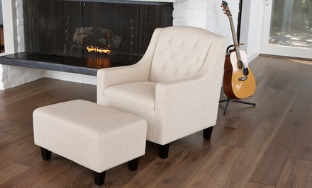 Button-Tufted Club Chair with Matching Ottoman