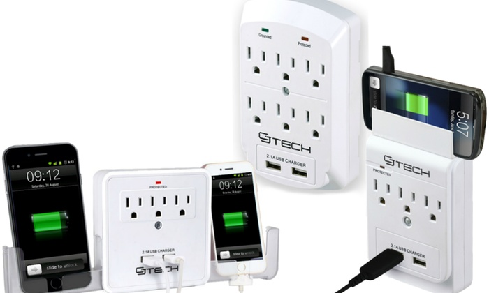 CJ Tech 3- or 6-Outlet Dual-USB Wall Taps with Phone Holder Options (1- or 2-Pack)