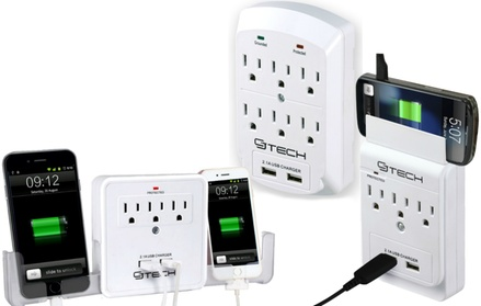 CJ Tech 3- or 6-Outlet Dual-USB Wall Taps with Phone Holder Options (1- or 2-Pack) 5bbf1b7c-2da5-11e7-b86e-00259069d7cc