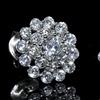 Cubic Zirconia Cluster Flower Stud Earrings in Sterling Silver