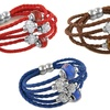 Crystal and Murano Bead Tiered Leather Bracelet