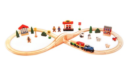40-Piece Wooden Train Set