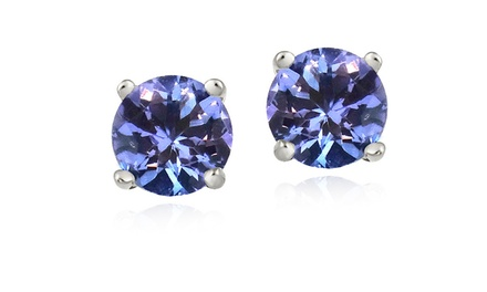 1.00 CTW Round Cut Tanzanite Stud Earrings in Sterling Silver