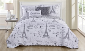 Paris Night Reversible Quilt Set or Duvet Cover Set (5-Piece)