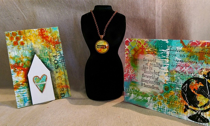 A Work of Heart - Willow Glen: $30 for a Mixed-Media Sampler Class for Two at A Work of Heart ($60 Value)