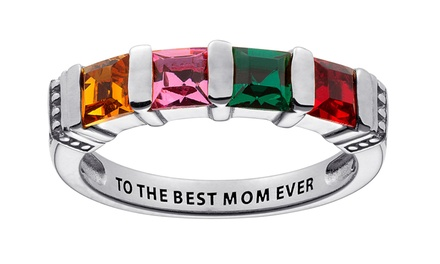 $29.99 for a Personalized Sterling-Silver Mother's Birthstone Ring from Limogés Jewelry ($69.99 Value)